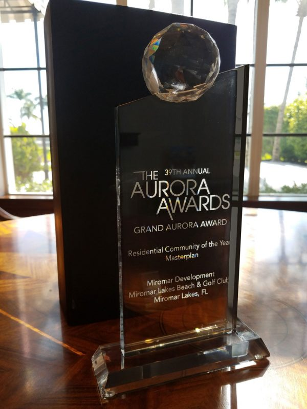 Miromar Lakes Beach & Golf Club was named the Best Community in 12 states, receiving the coveted Grand Aurora Award from the Southeast Builders Conference